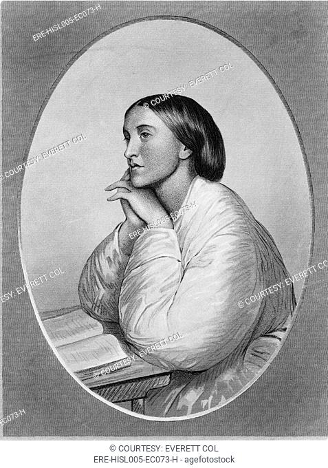 Christina Rossetti 1830-1894 English poet, in a chalk drawing by her brother, Dante Gabriel Rossetti, 1866