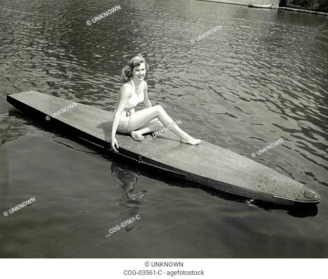 The American actress Patricia Northrop in a canoe