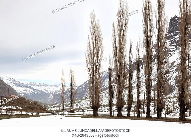 Winter Landscape Mountain. Cajon del Maipo. Chile
