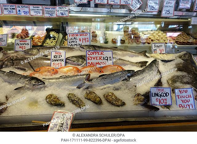 The picture shows the display of a fish stand at the Pike Place Market in Seattle, United States, 30 August 2017. The Pike Place Market is one of the biggest...