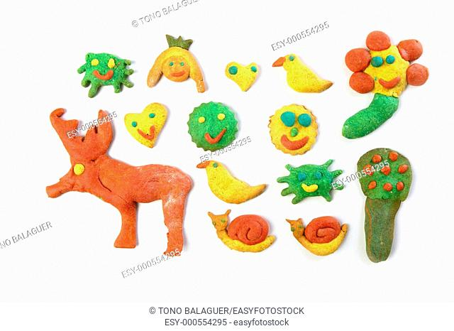 colorful multicolor funny biscuits shapes white background