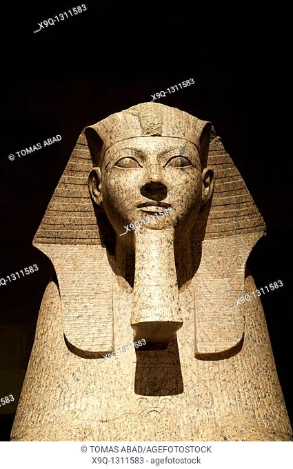Sphinx of Hatshepsut, New Kingdom, Dynasty 18, reign of Hatshepsut, ca  1473-1458 b c , Egyptian, Red granite with traces of blue and yellow paint