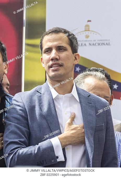 The president of the National Assembly, Juan Guaidó. He called on civil society to hold an open town hall on Friday to declare the usurpation of the Presidency...