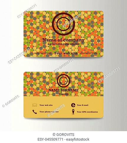 Creative and Clean Double-sided Business Card Template. Flat Design Vector Illustration. Stationery Design. Mosaic background