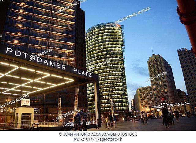 Potsdamer Platz at night. Berlin, Germany, Europe