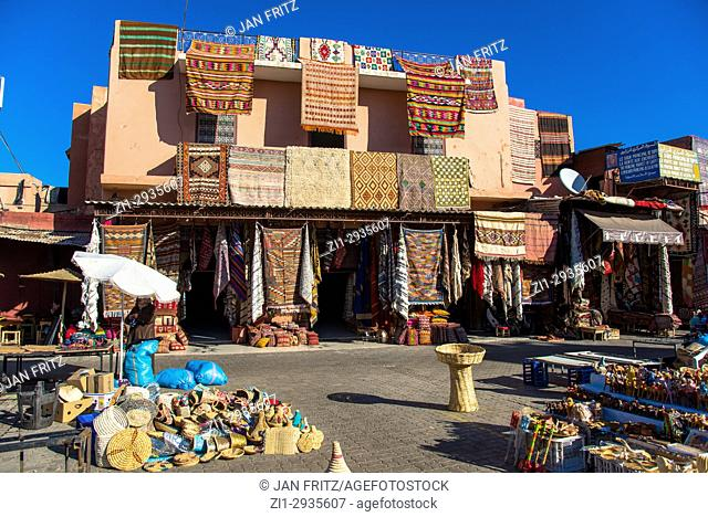 carpets for sale at place rahba kedima. Marrakesh, Maroc