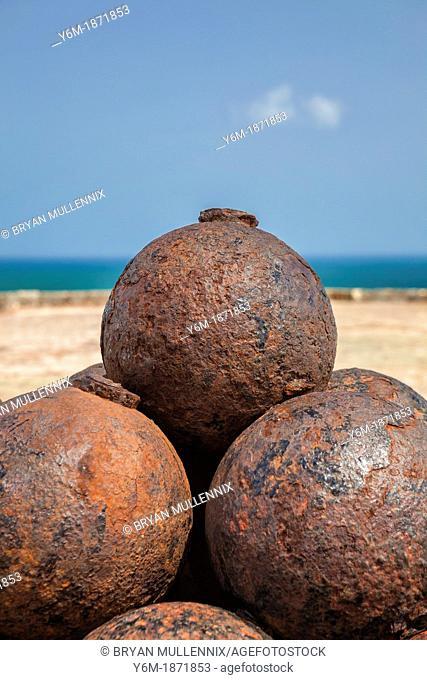 Stacked cannon balls at Castillo San Felipe del Morro, San Juan National Historic Site, a national park in Old San Juan, Puerto Rico