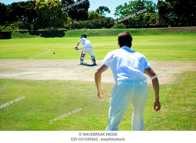 Rear view of men playing cricket at pitch