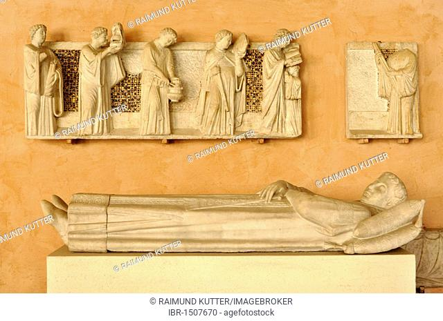 Relief, Office of the Dead on the tomb of the notary Annibaldi, cloister, Basilica San Giovanni in Laterano, Rome, Lazio, Italy, Europe