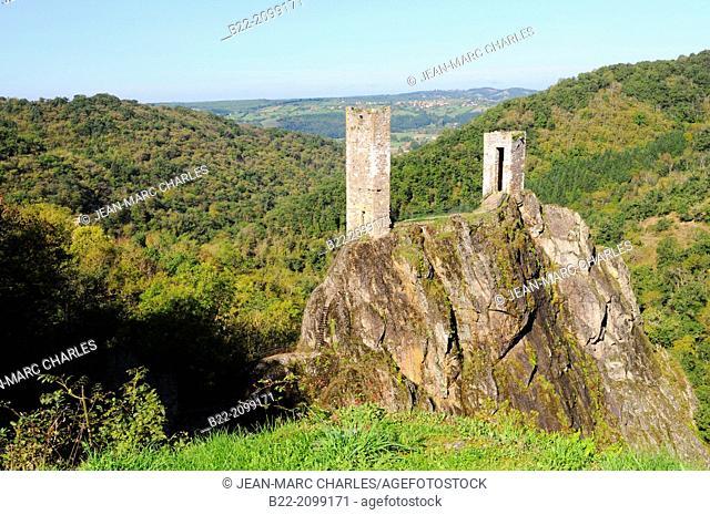 The castle of Peyrusse-le-Roc on a rocky peak, Aveyron, Midi-Pyrénées, France