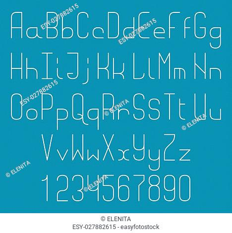 Thin line vector font. Alphabet letters and numbers