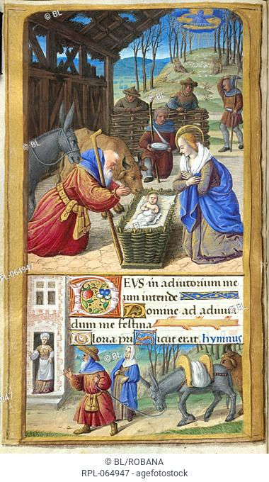 The Nativity Whole folio Office of Prime of the Virgin. Beneath a ruinous shed a wicker cradle with Christ between Joseph kneeling with his staff and the Virgin