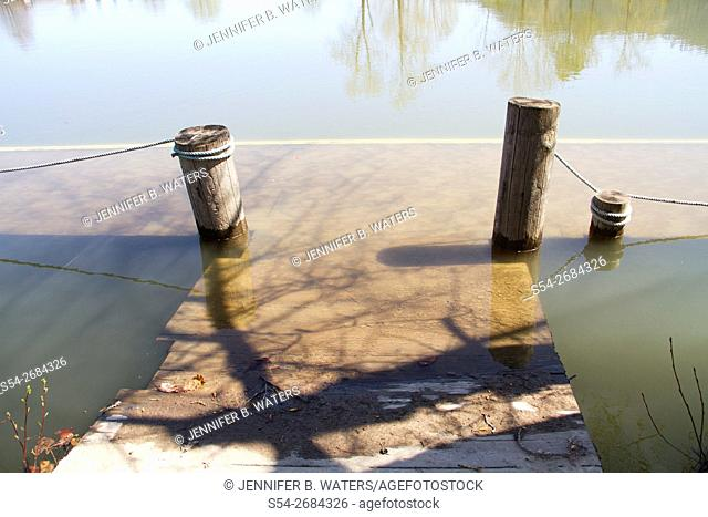 A dock underwater in the flooded St Joe River, Idaho, USA