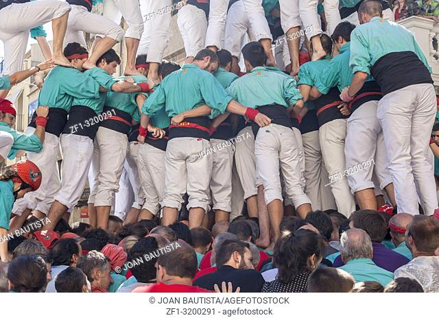 Castell, human tower built in festivals, Vilafranca del Penedes, province Barcelona, Catalonia,Spain