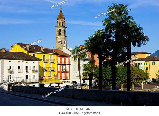 Ascona, Switzerland, canton Ticino, Lago Maggiore, town, city, , bank promenade, houses, homes, , church, palms