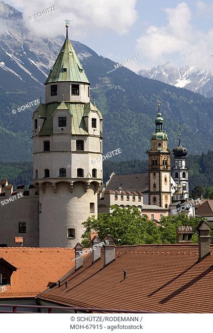 Österr Hall in Tirol. Münzerturm Ende des 15. Jahrhunderts errichtet. Turm der Burg Hasegg und Wahrzeichen der Stadt. Heute Teil des Museums der Münze Hall