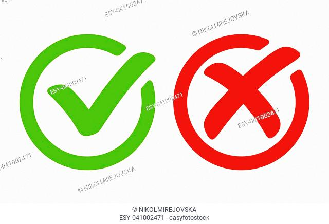 Green tick symbol and red cross sign in circle. Icons for evaluation quiz
