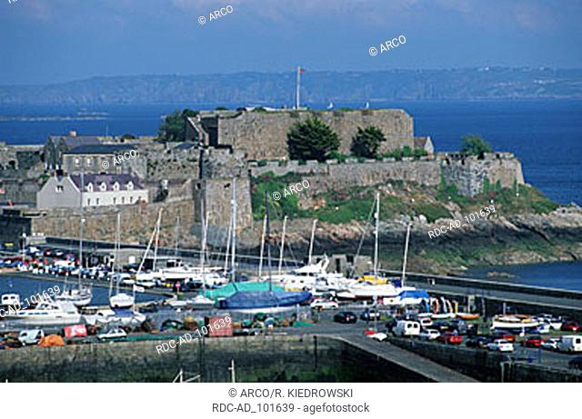 Harbour and castle Cornet St. Peter Port Guernsey Channel Islands Great Britain