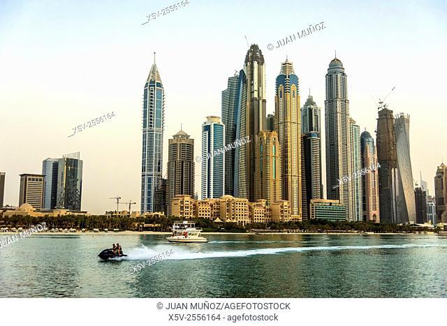 Skyline of skyscrapers at Marina district in Dubai United Arab Emirates