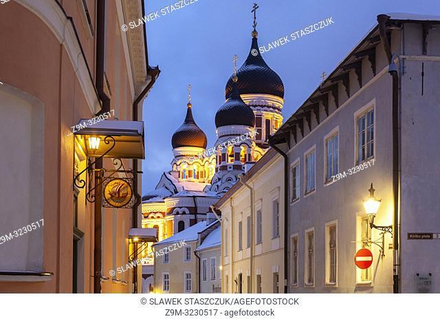 Winter dawn in Tallinn old town, Estonia. Alexander Nevsky orthodox church in the distance