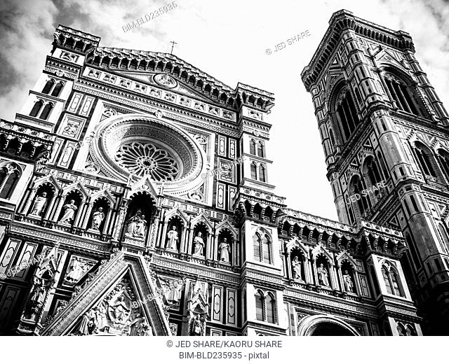 Ornate church tower in Florence, Tuscany, Italy
