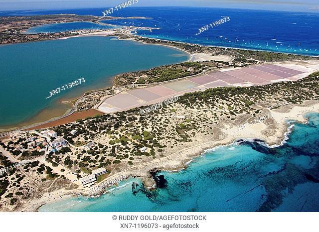Pudent lagoon, Es Savina harbor on top, Ses Salines, Formentera, Balearic Islands, Spain
