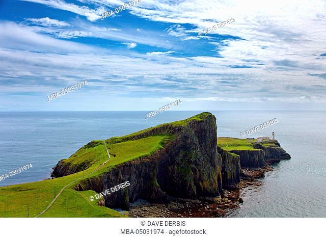 Lighthouse, coast, Neist Point, Waterstein, Ilse of Skye, highlands, Scotland