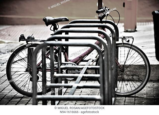 Bicycle parking Along the City of Denia. Alicante. Valencia. Spain