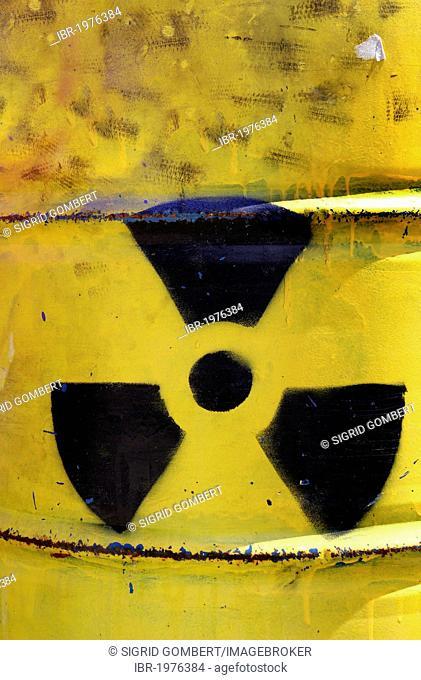 Radioactivity sign on a barrel