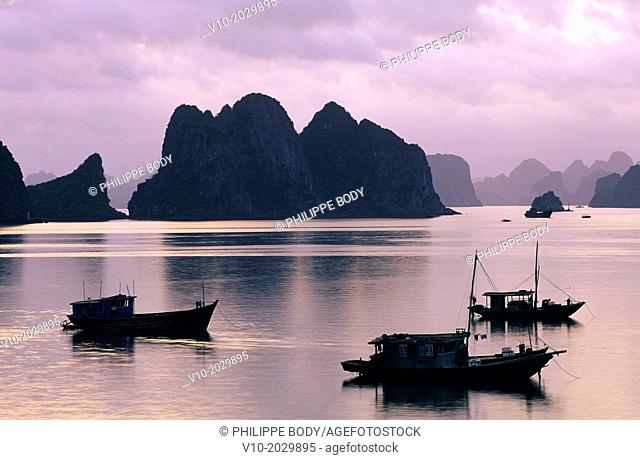 Vietnam, Ha Long bay a World heritage site of UNESCO, fishing boat in the bay