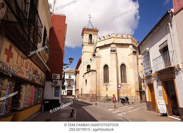 Woman in front of the Iglesia De San Esteban church, Seville, Andalusia, Spain, Europe
