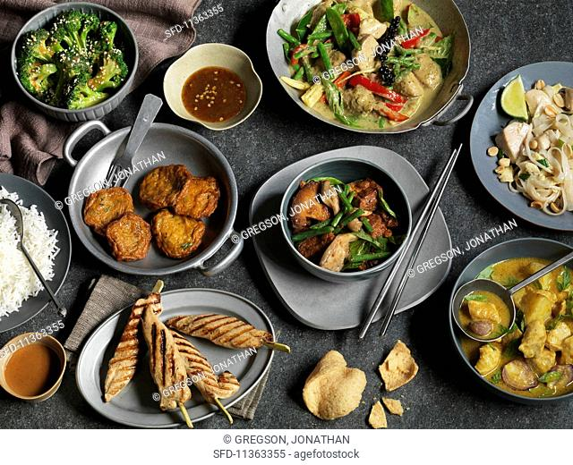 An arrangement of various spicy Thai dishes