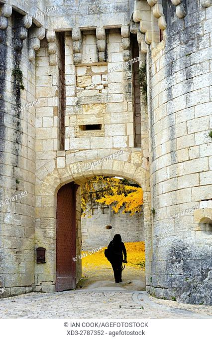 entrance to Chateau Bourdeilles in autumn, Bourdeilles, Dordogne Department, Aquitaine, France