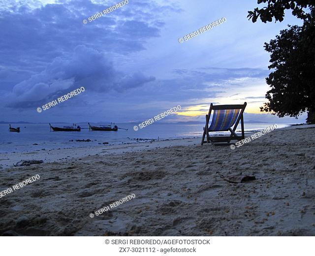 Hammock on the beach. Phi Phi don. Relax Beach. Phak Nam Bay. Thailand. Asia. Phi Phi Don island. Krabi province, Andaman Sea, Thailand