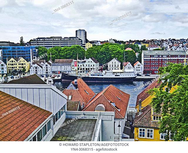 Stavanger, Norway. The museum ship MV Rogaland is at dock in the port of Stavanger