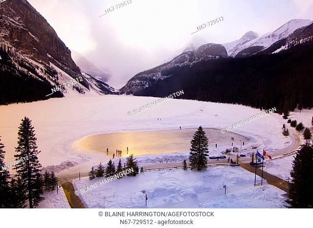 View of the ice skating rink on Lake Louise from the Fairmont Chateau Lake Louise Hotel, Alberta, Canada