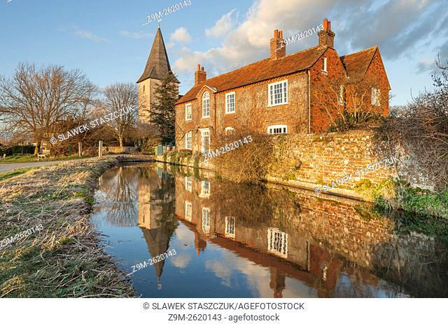 Winter evening at Brook House in Bosham, West Sussex, England