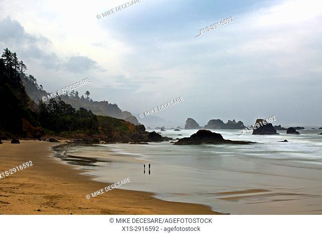 Early morning fog and cloudy skies greet the first visitors on Indian Beach, Ecola State Park, Oregon