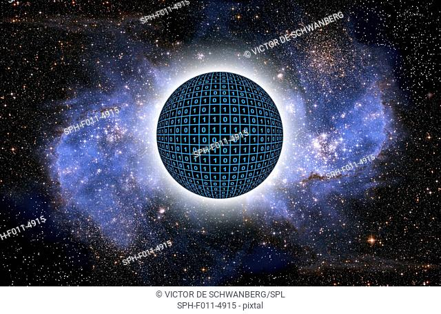Sphere in space with binary code