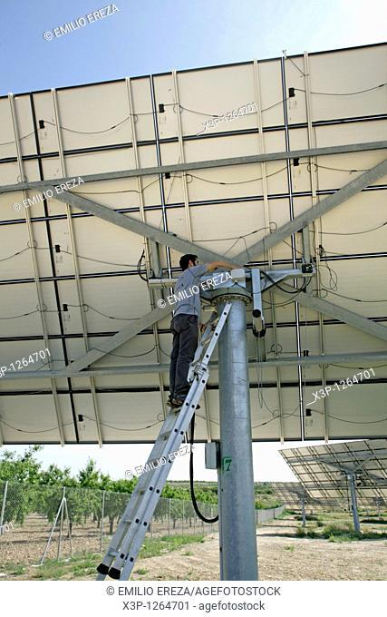 Photovoltaic panels conservation  Arbeca Lleida  Catalonia, Spain