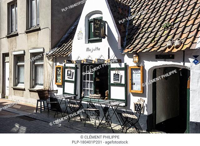 18th century Huisje van Majutte / house of Majutte, former fisherman's house now museum-café in the seaside town Blankenberge, West Flanders, Belgium