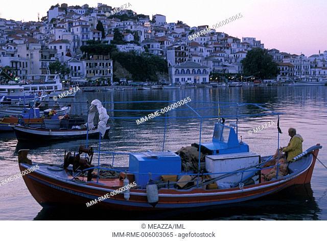 Port, fishing boats, Skopelos, Sporades, Greece