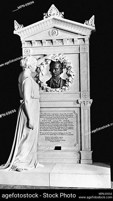 Edgar Allan Poe Memorial. Artist: Richard Henry Park (1832-1902); Date: 1882-84; carved 1884; Medium: Marble and bronze; Dimensions: 115 x 84 1/2 x 39 3/4 in