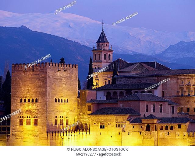 Night view of the Alhambra from the Mirador de San Nicolas. Granada. Spain
