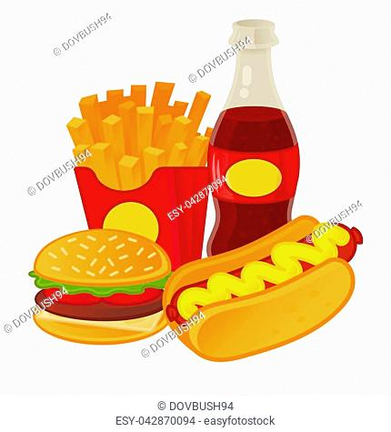 Good set of tasty street food. Classical hot-dog, french fries in red box, fresh sparkling drink, American fat hamburger. Menu for cafe bar fast food