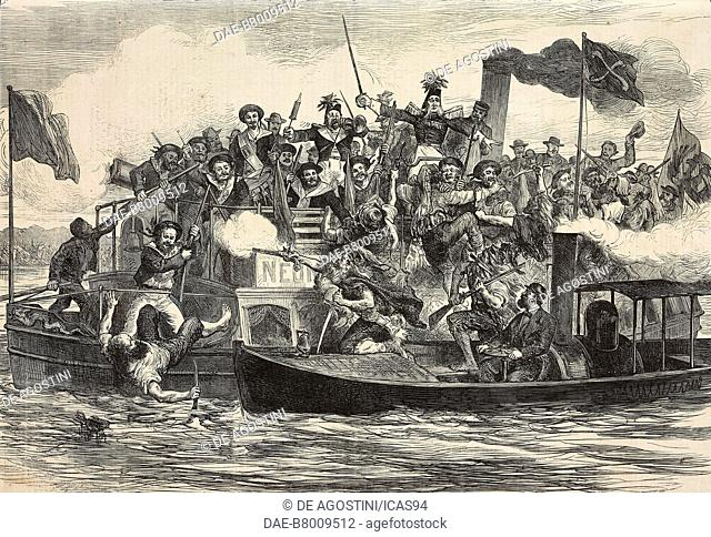 Sham pirates attack, masquerade festival of Berlin artists, Germany, engraving from The Illustrated London News, No 1875, July 17, 1875