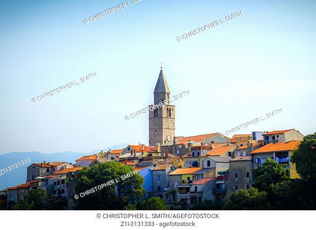The hillside village of Vrbnik on the Croatian island of Krk