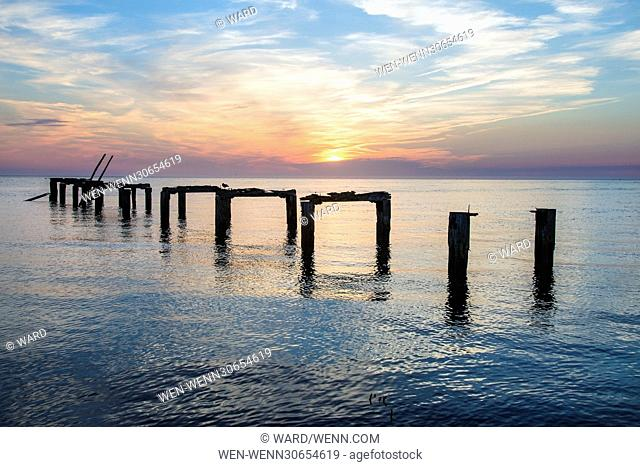 Remains of a jetty still survive next to Wolferton Creek Featuring: Snettisham Jetty Where: Kings Lynn, Norfolk, United Kingdom When: 21 Apr 2016 Credit:...