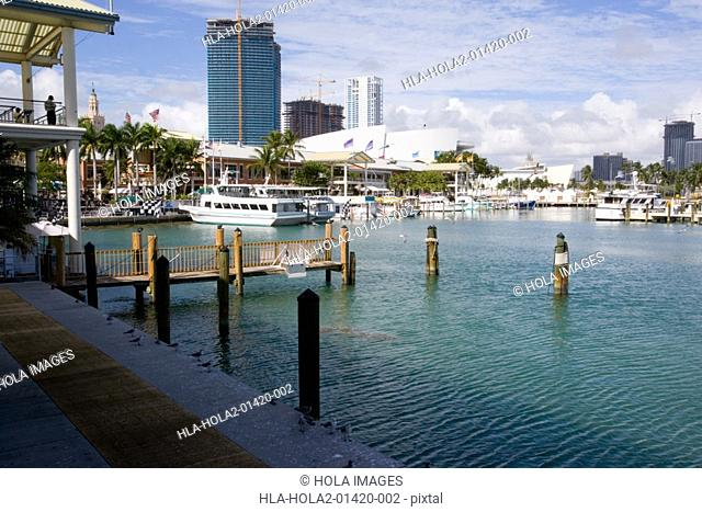 Bayfront Harbor in Miami, Florida, USA