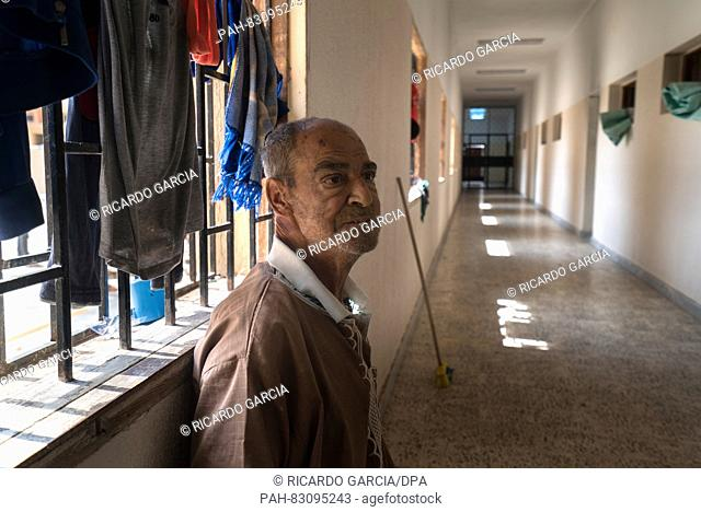 Portrait of an Egypt immigrant in one of the corridors of the detention center for illegal immigrants in Misrata, Lybia, 25 August 2016